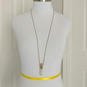 Forever 21 faux crystal gold casing long necklace